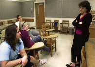 Professor Cheryl Lester lecturing to students