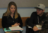 Students talking during class