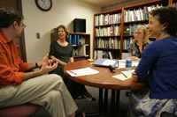 faculty members discussing teaching practices